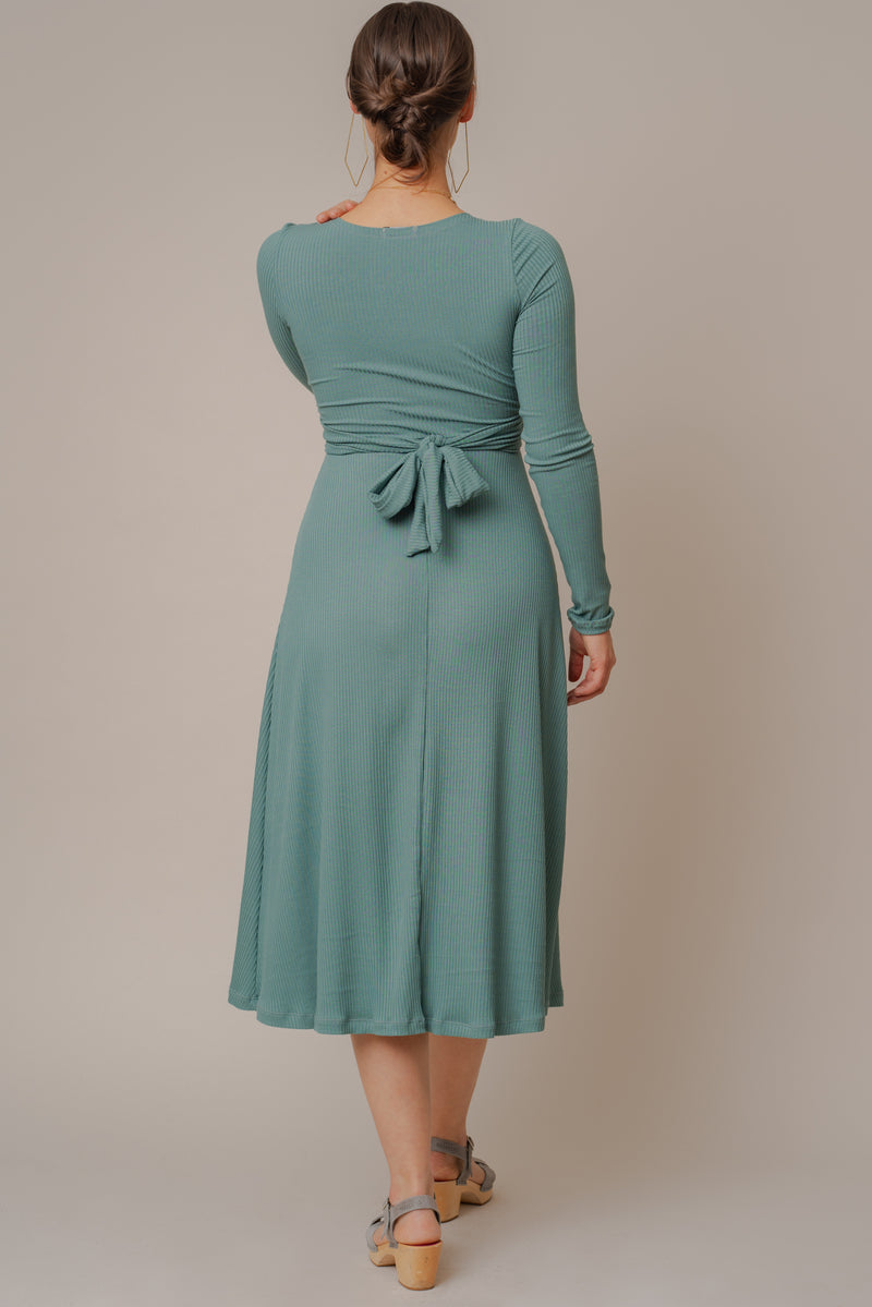 Lagoon Long-Sleeve Knotted Rib Knit Dress
