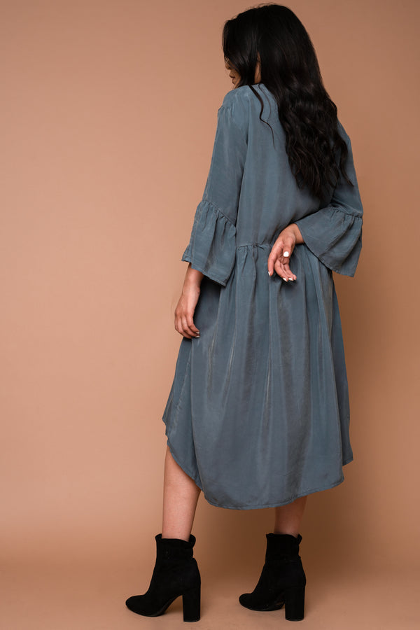 Aegean Sea Ruffle Sleeve Dress