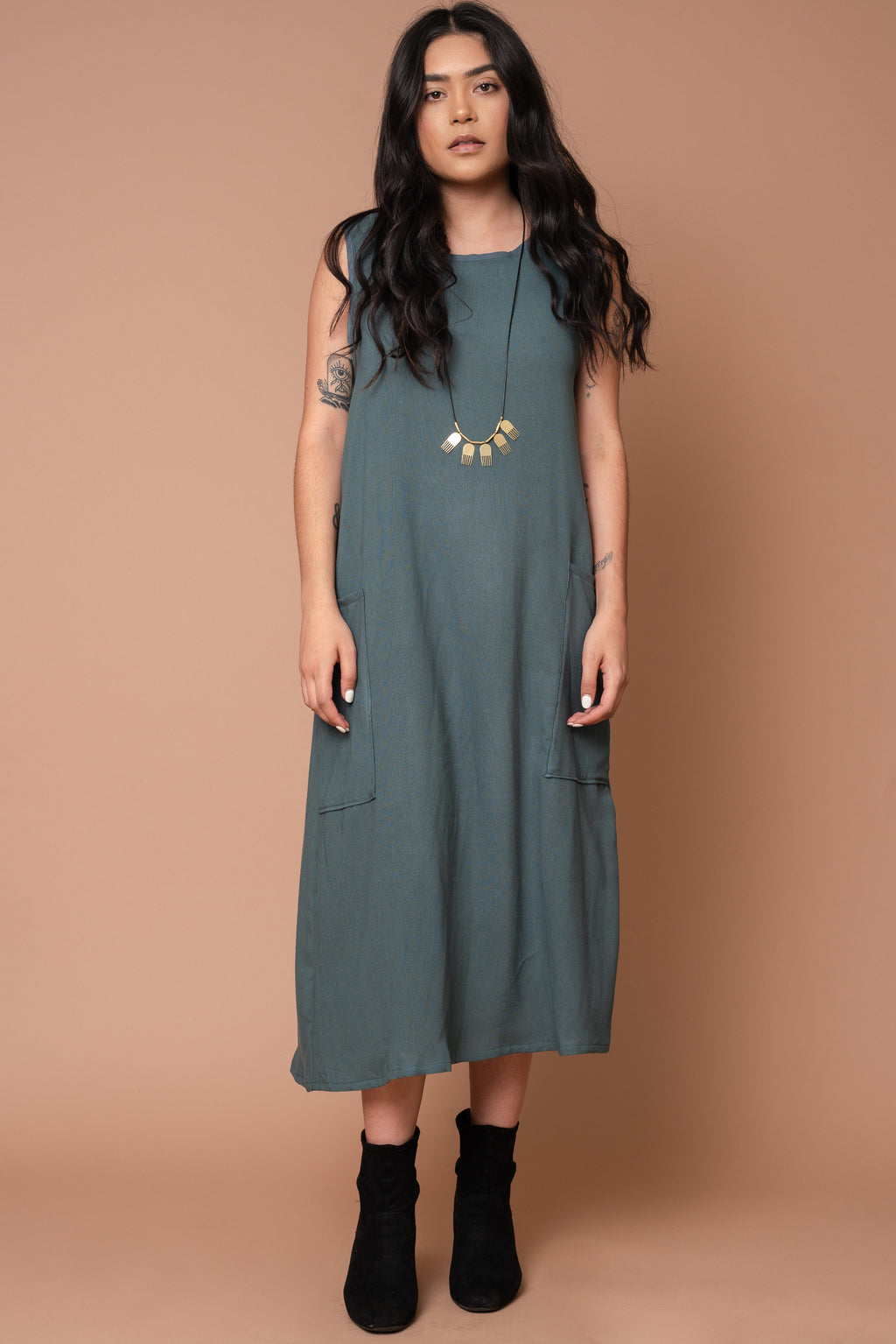 Teal Pocket Shift Dress