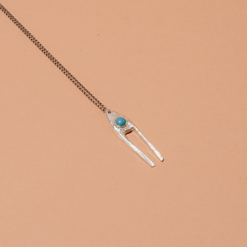 Silver Dual Pendant Necklace with Turquoise
