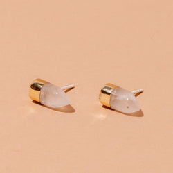 Rose Quartz Gold Dipped Studs