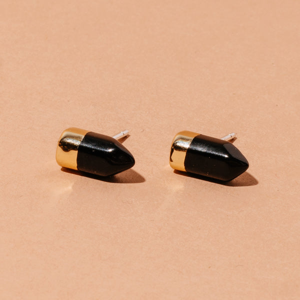 Obsidian Quartz Gold Dipped Studs