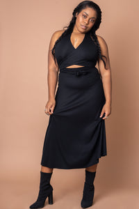 Black Knotted Rib Knit Dress