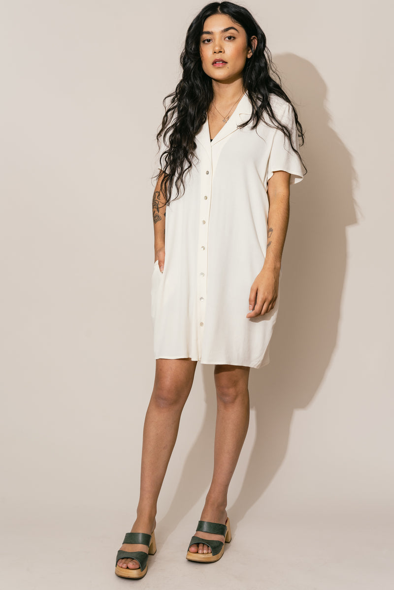 Cream Button Down Dress +