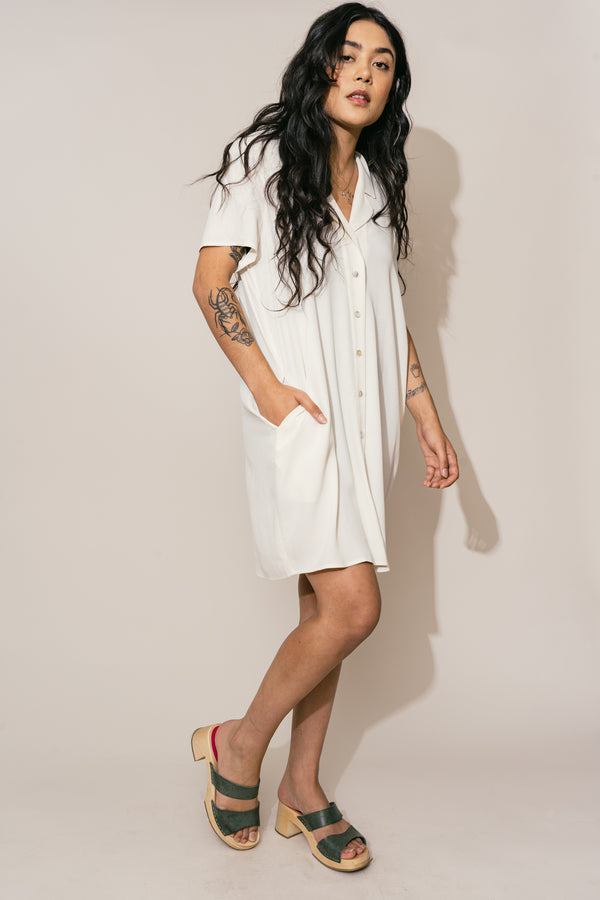Cream Button Down Dress