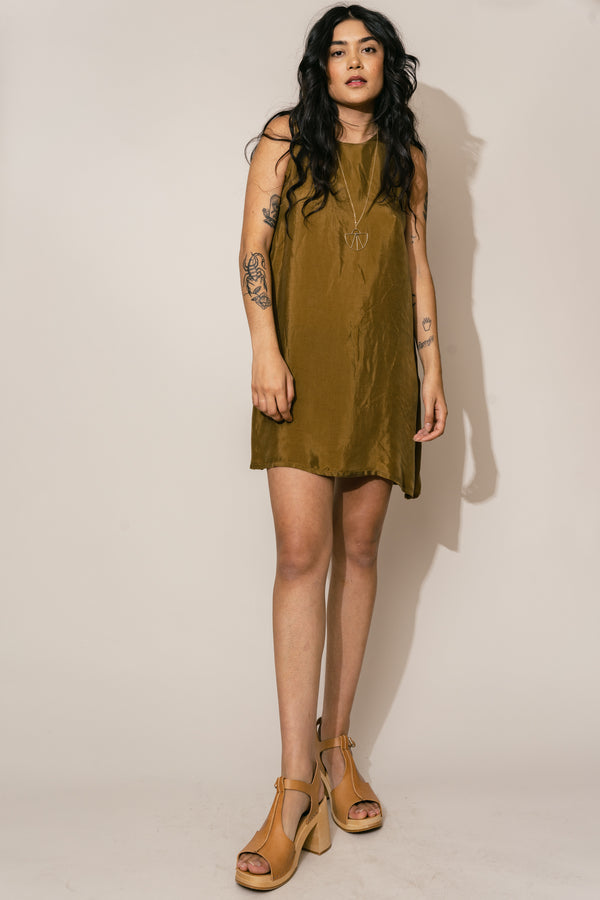 Olive Cupro Mini Shift Dress