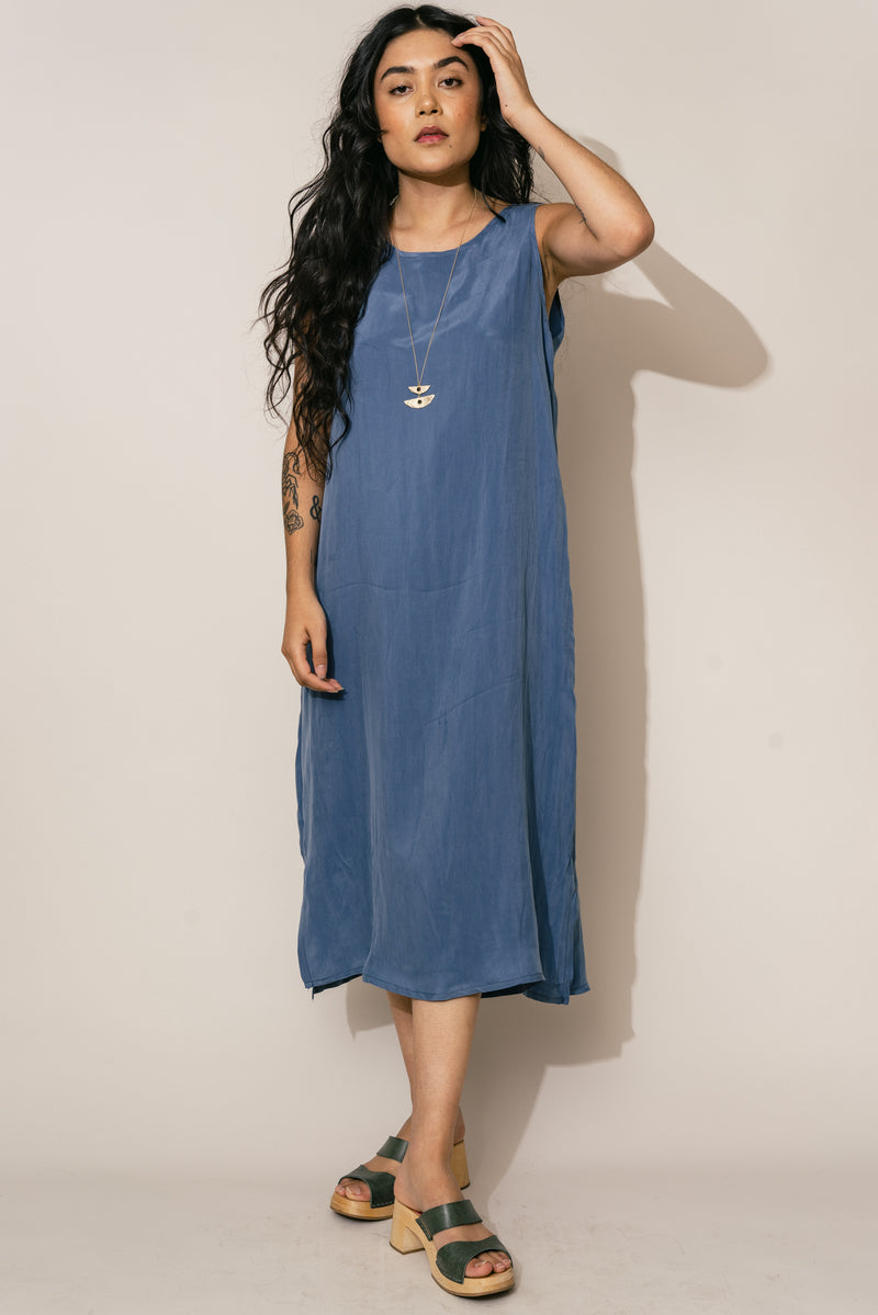 Ultra Blue Cupro Shift Dress