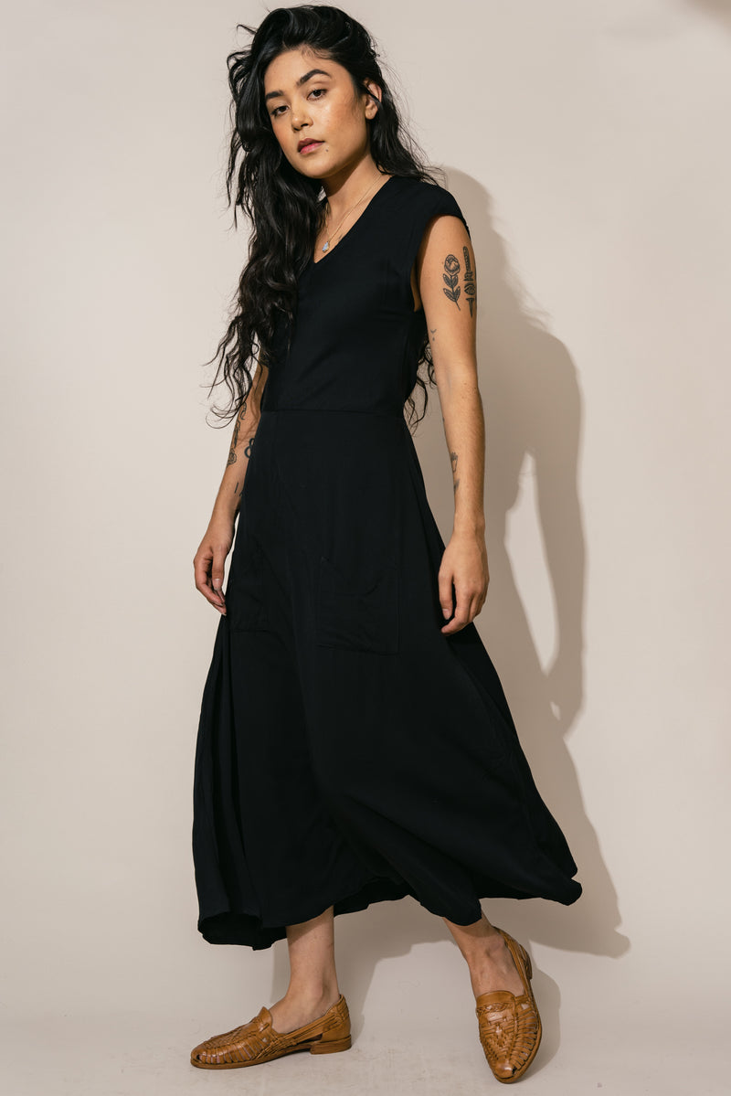 Black Belted Bias Dress