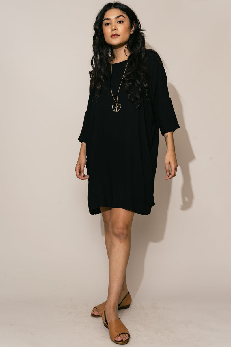 Black Woven Batwing Dress