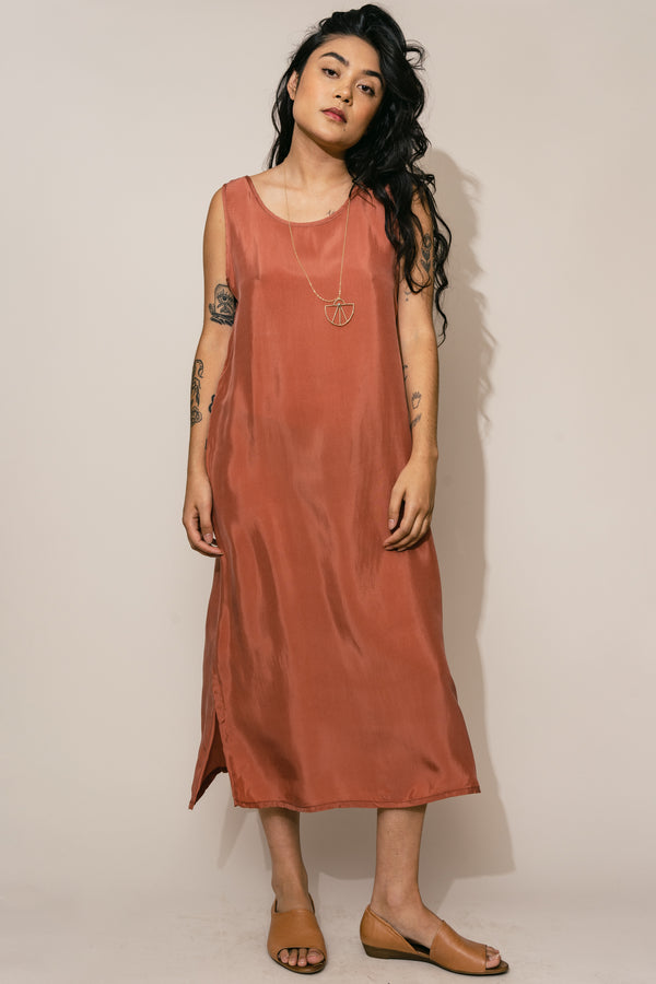 Dusty Rose Cupro Shift Dress
