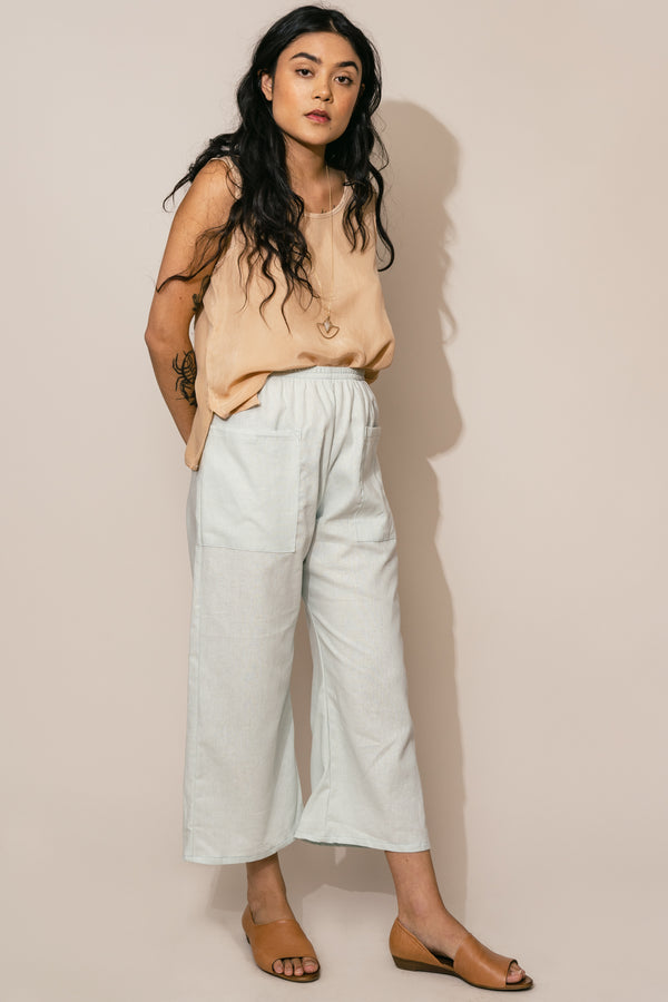 Sea Foam Linen Trouser