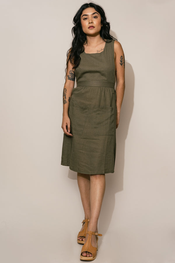 Olive Linen Pinafore Dress