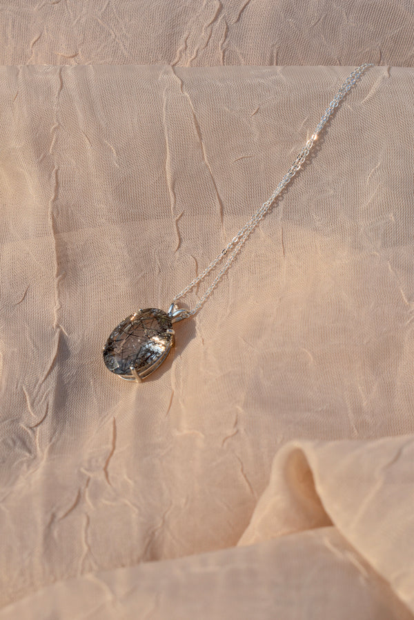 Large Oval Tourmalinated Quartz Necklace