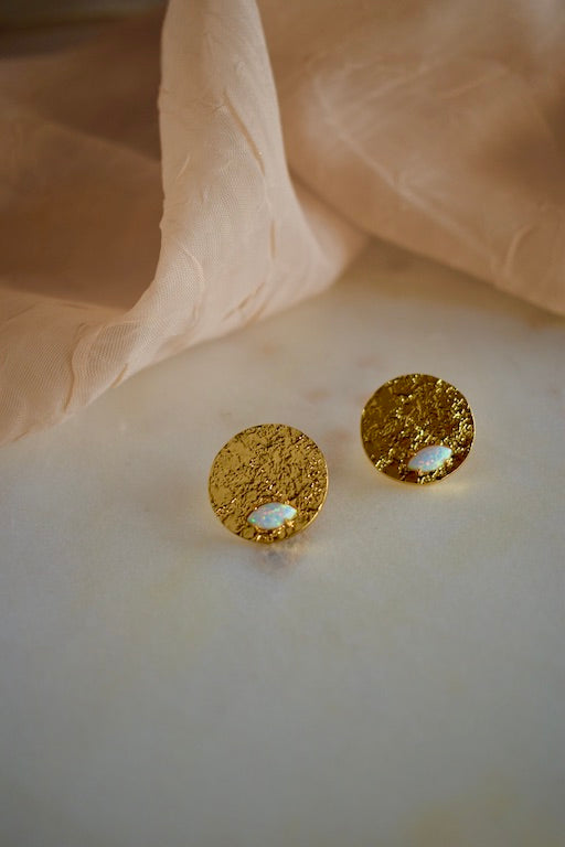 Opal Virtu Coin Stud Earrings