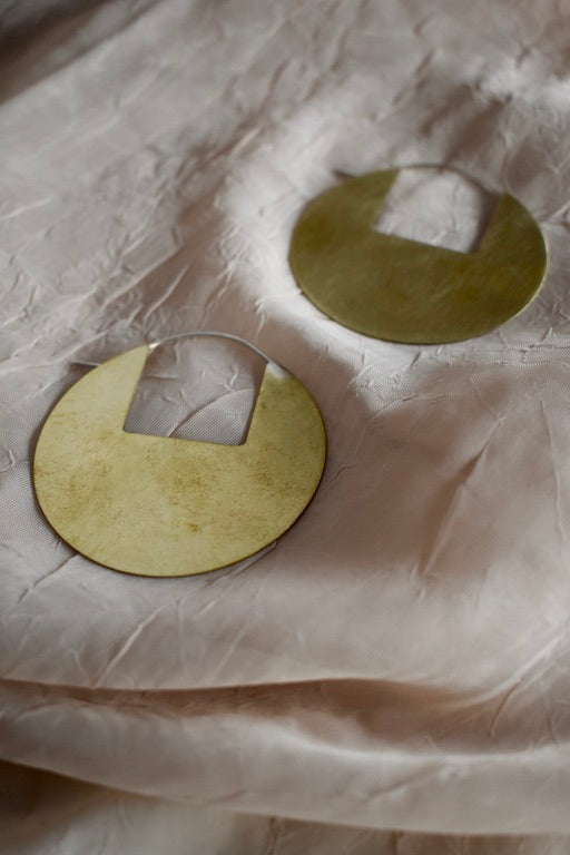 Circle Disc Earrings with Square Cutout