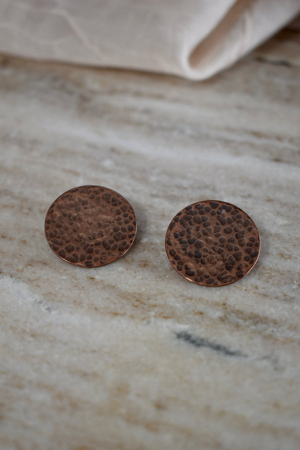 Hammered Copper Statement Stud Earrings