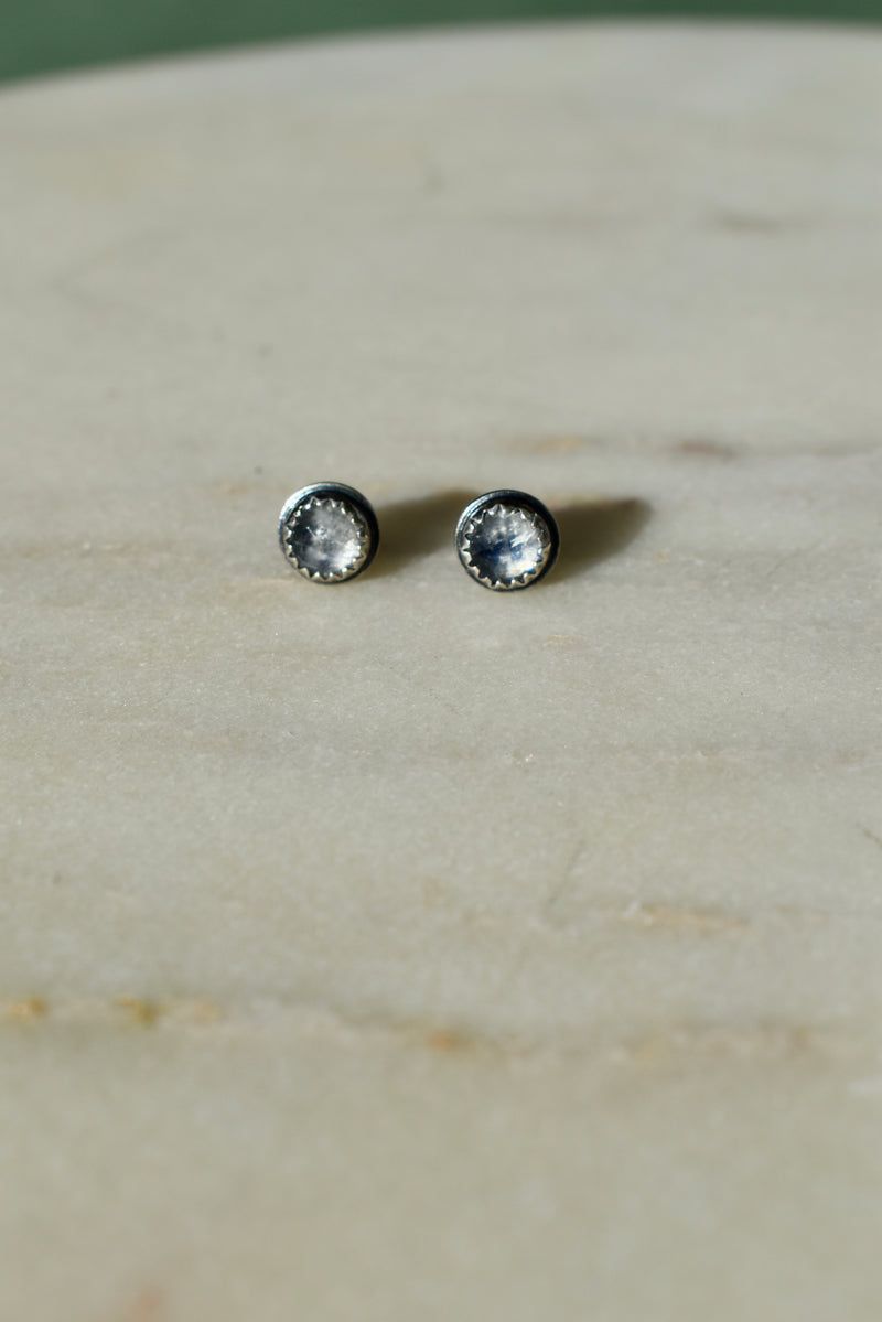 Rose Cut Rainbow Moonstone Stud Earrings