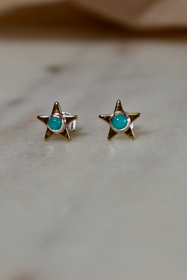 Amazonite + Brass Star Stud Earrings