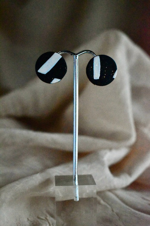 Small Black and White Stud Earrings