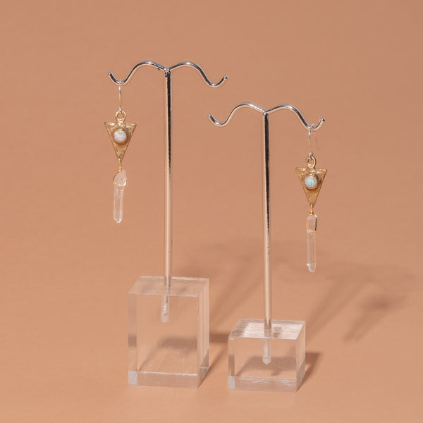 Dart and Crystal Drop Earrings