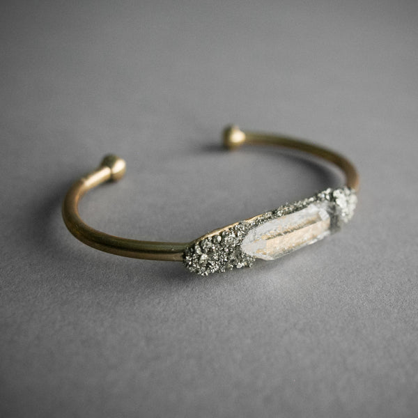 Clear Quartz and Pyrite Cuff Bracelet, Jewelry, Deadia - Altar PDX