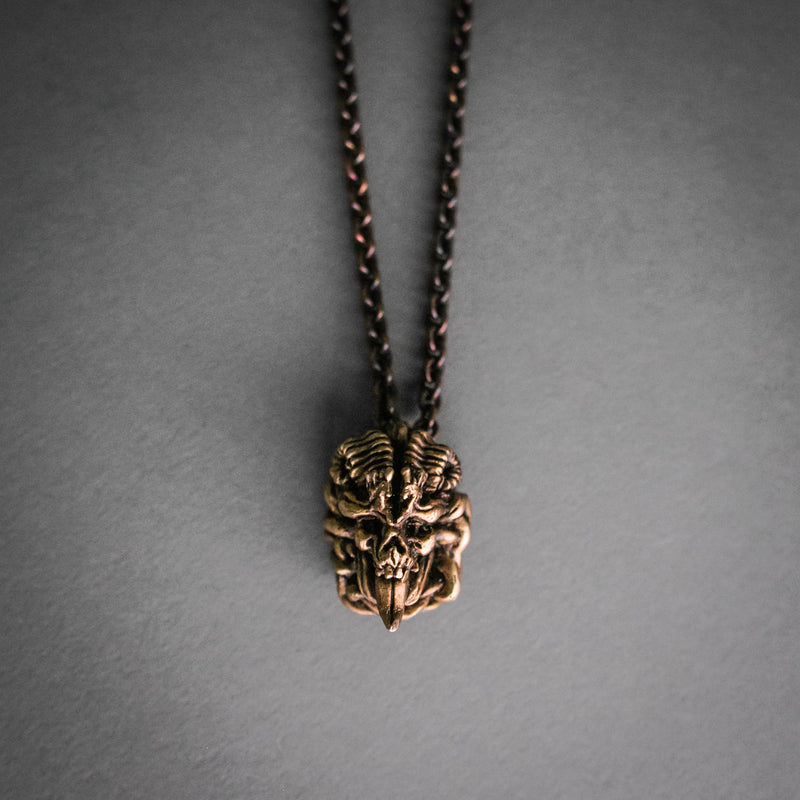 Double Sided Skull Necklace - Copper, Jewelry, Alex Reisfar - Altar PDX