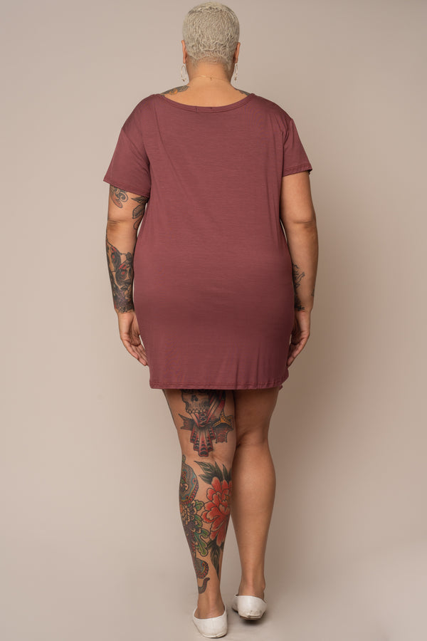 Dusty-Rose-Model-T-Shirt-Dress-Short