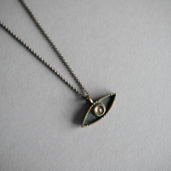Evil Eye Necklace - Silver and Citrine
