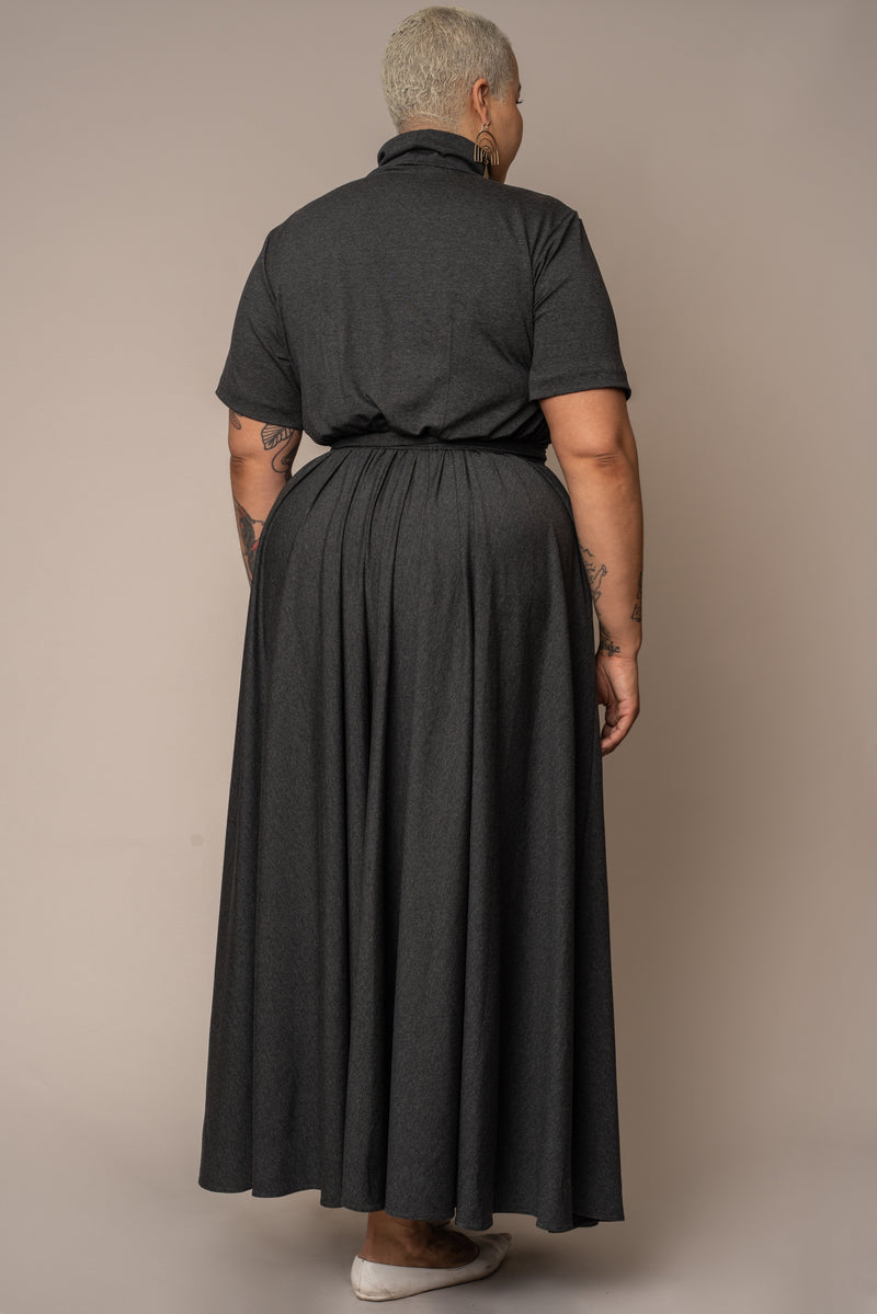 Grey Mid-Sleeve Mock Neck Flare Maxi Dress