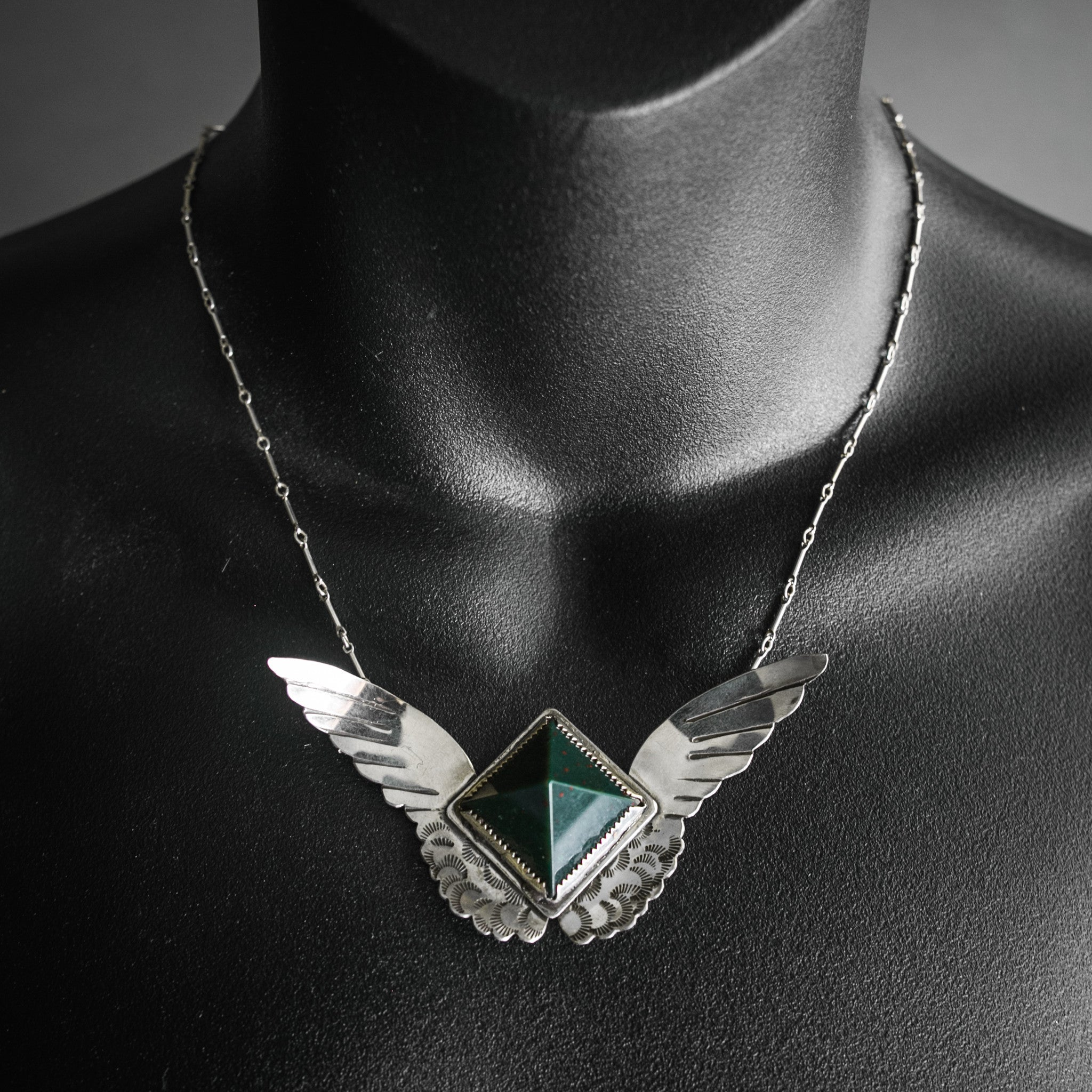 Harpy Necklace - Bloodstone and Sterling Wings, Jewelry, Morgaine Faye - Altar PDX