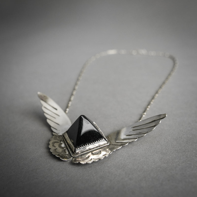 Harpy Necklace - Obsidian and Sterling Wings, Jewelry, Morgaine Faye - Altar PDX