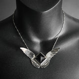 Morgaine Faye, Harpy Necklace - Obsidian and Sterling Wings