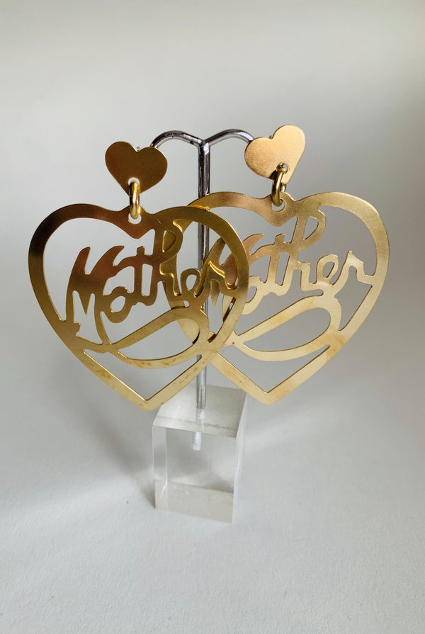 Brass Mother Heart Earrings