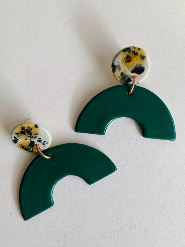 Ceramic Arc Dangle Stud Earrings