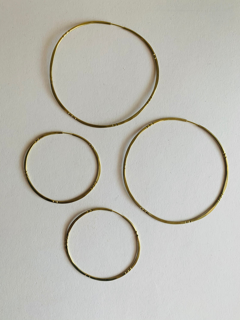 Essie Day Hammered Brass Geo Earrings/ Bamboo Solar Hoops