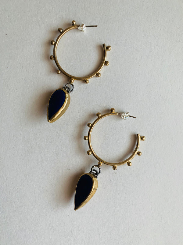 Mini Studded Bronze Hoop Earrings with Lapis