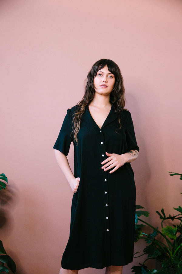 Black Button Down Midi Length Dress