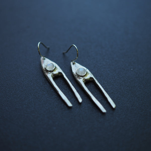 Silver Dual Earrings with Moonstone