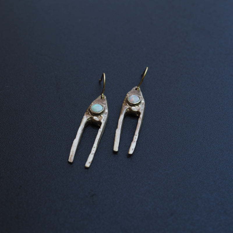 Brass Dual Earrings with Opal