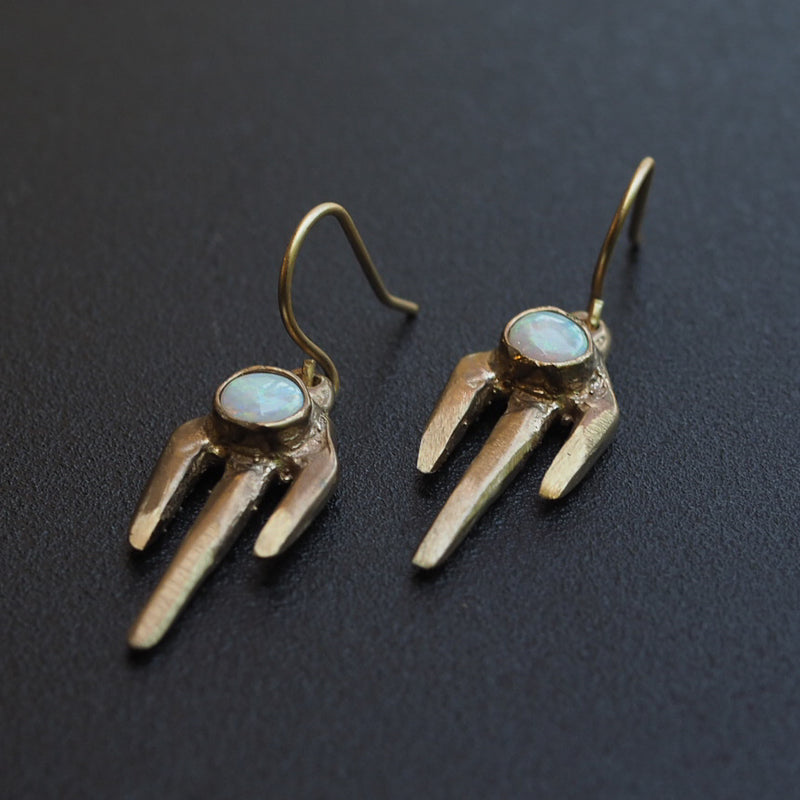 Brass Trine Earrings with Opal