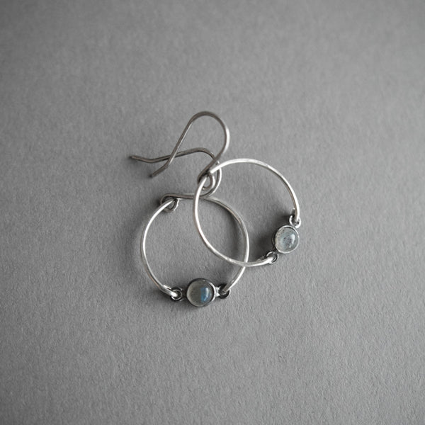Labradorite Circle Earrings