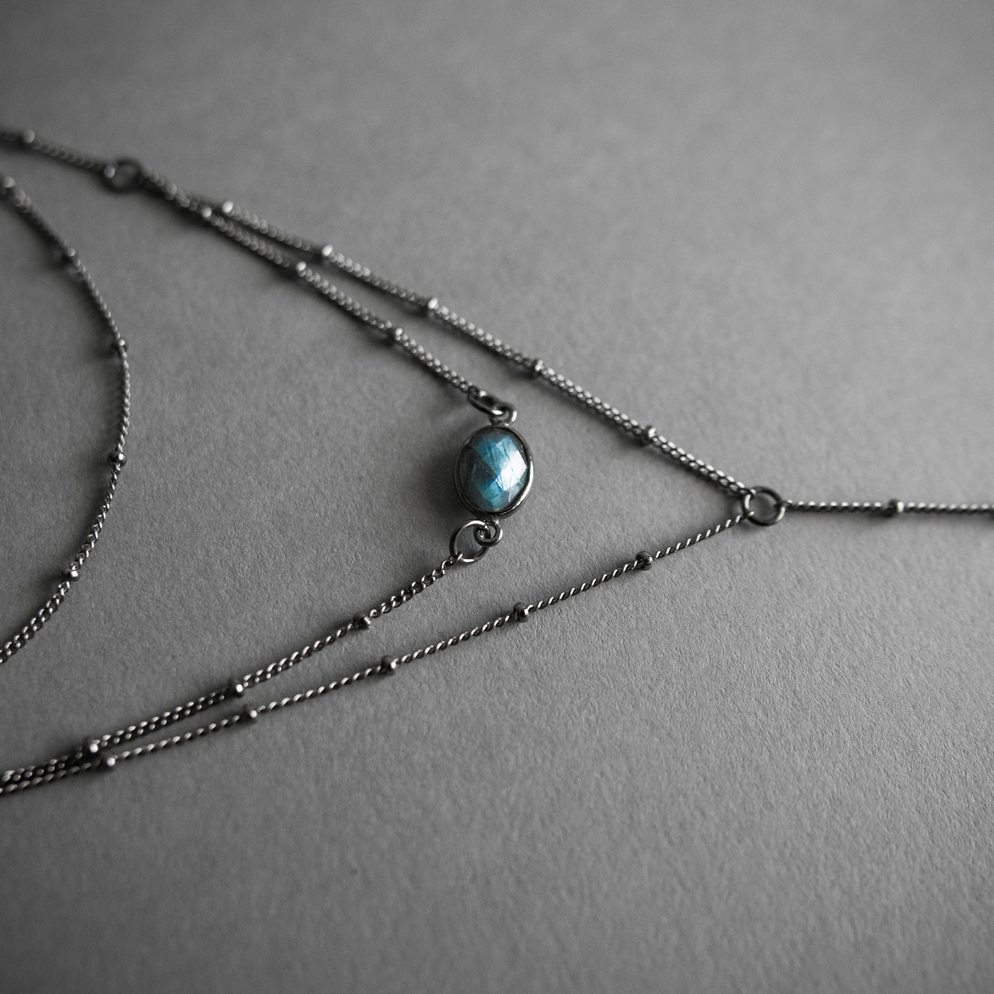 Layered Labradorite Lariat Necklace, Jewelry, Iron Oxide - Altar PDX