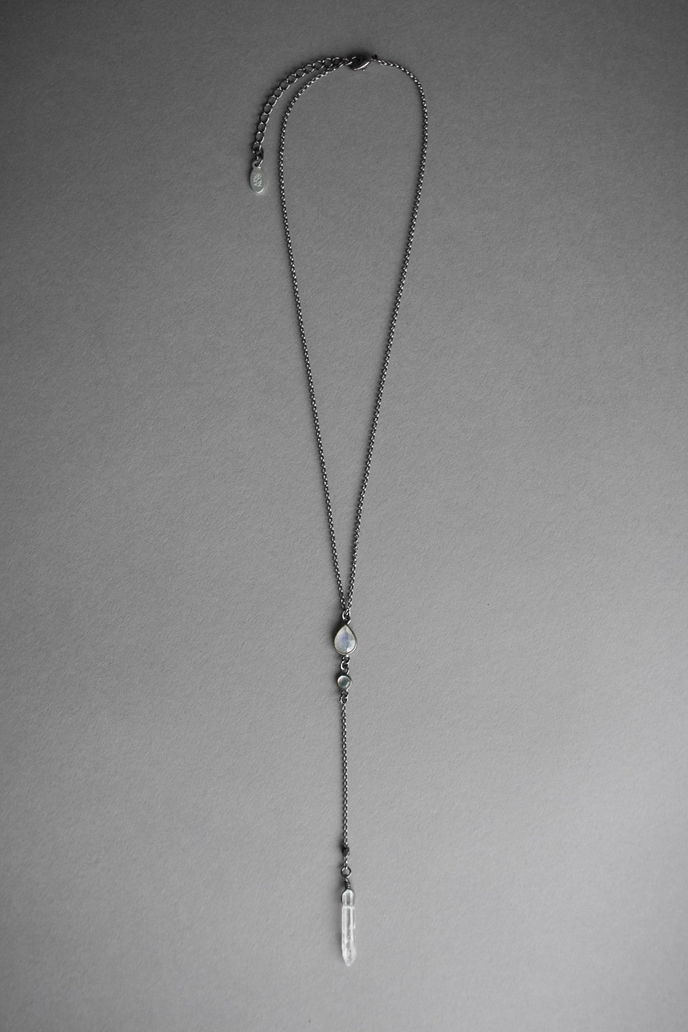 Moonstone Lariat Necklace, Jewelry, Iron Oxide - Altar PDX