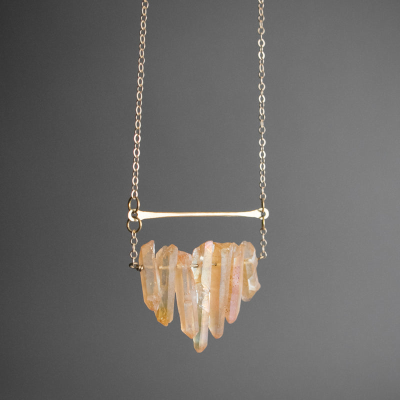 Multicrystal Necklace - Peach