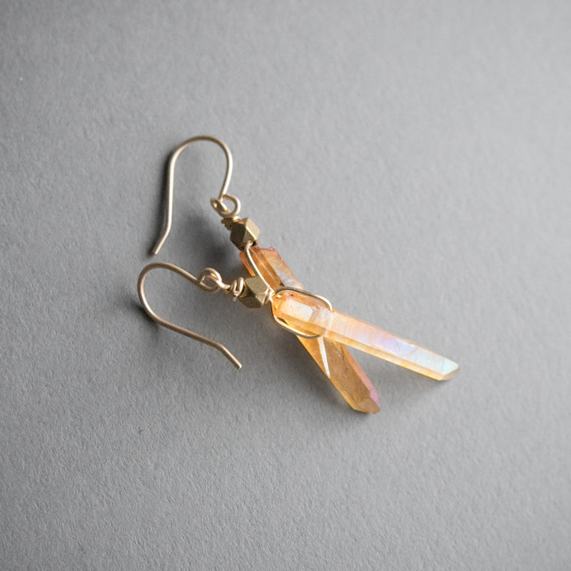 Single Crystal Earrings - Peach