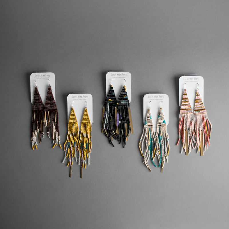 Long Beaded Fringe Earrings with Brass
