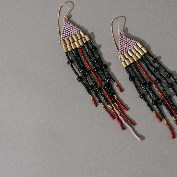 Woven Top Earrings with Brass Beads and Fringe