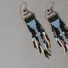 Dangler Earrings with Black, Gold, Mauve and Sky Blue Beads