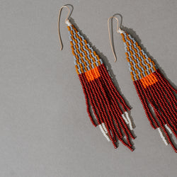 Triangle with Beaded Fringe Earrings