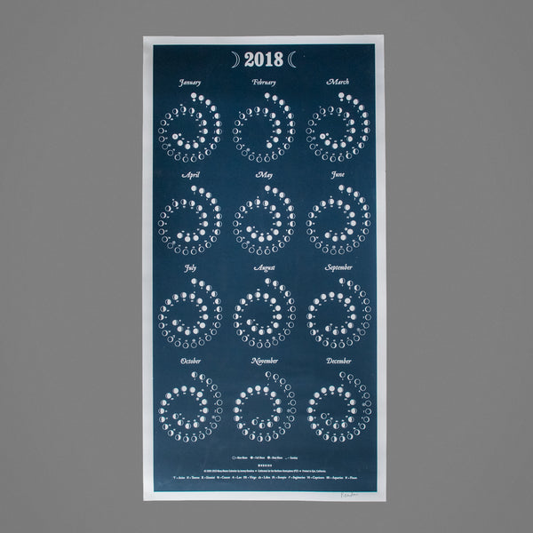 2018 Moon Phase Calendar, Stationary, Margins - Altar PDX